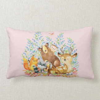 Woodland Animals Baby Girl Nursery Pillow