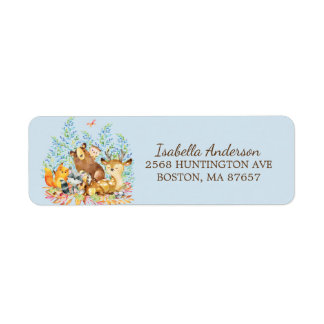 Woodland Animals Baby Shower Address Label