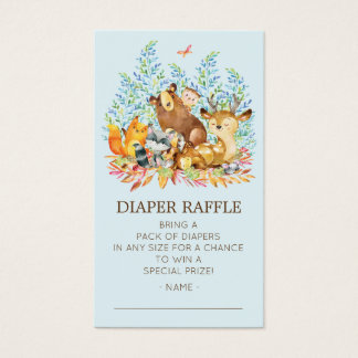 Woodland Animals Baby Shower Diaper Raffle Ticket
