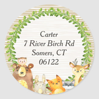 Woodland Animals Baby Shower Envelope Seal Address Round Sticker