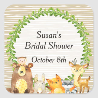 Woodland Animals Baby Shower Favor Tag Square Sticker