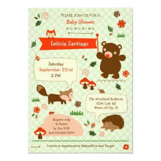 "Woodland Animals Baby Shower Invitation 5"" X 7"" Invitation Card"