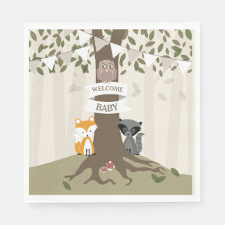 Woodland Animals Baby Shower - Neutral Disposable Serviette