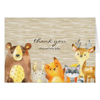 Woodland Animals Baby Shower Thank you Card