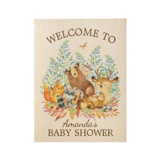Woodland Animals Baby Shower Wood Poster