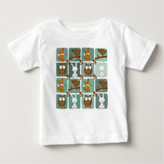 Woodland Animals Block Pattern Baby T-Shirt