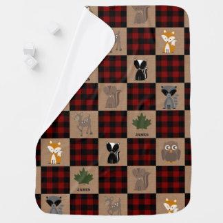 Woodland Animals Buffalo Plaid Baby Blanket