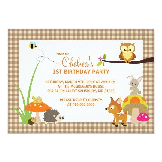 Woodland Animals First Birthday Invitations