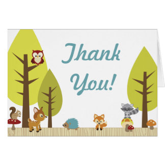Woodland Animals Folded Thank You Card 2