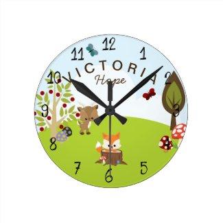 Woodland Animals Forest Friends Fox Nursery Round Clock