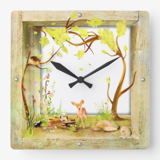 woodland animals forest in a box clock