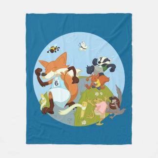 Woodland Animals Fun Running Fox & Badger Cartoon Fleece Blanket
