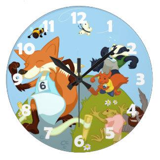 Woodland Animals Fun Running Fox & Badger Cartoon Large Clock