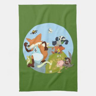 Woodland Animals Fun Running Fox & Badger Cartoon Tea Towel