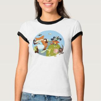 Woodland Animals Fun Running Fox & Badger Cartoon Tee Shirts