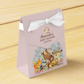 Woodland Animals Girls Baby Shower Favour Box
