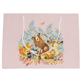 Woodland Animals Girls Baby Shower Gift Bag