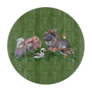 Woodland Animals Glass Cutting Board