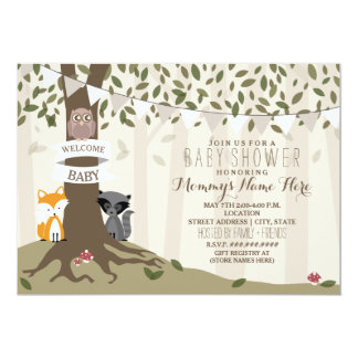 Woodland Animals Neutral Baby Shower Card