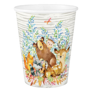 Woodland Animals Neutral Baby Shower Paper Cup