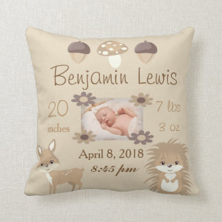 Woodland Animals Nursery Photo Baby Keepsake Cushion