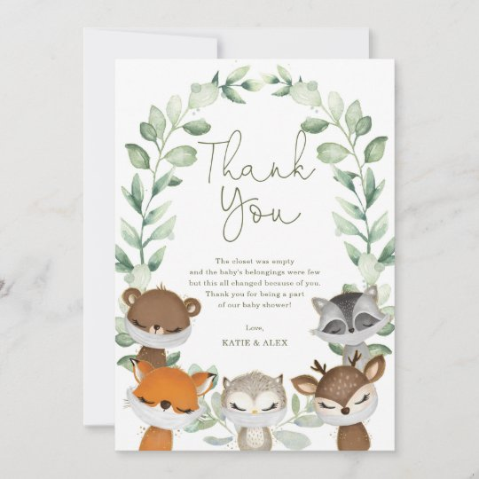 woodland animals virtual quarantine baby shower thank you