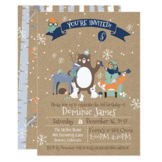 Woodland Animals Winter Boys Birthday Invitation