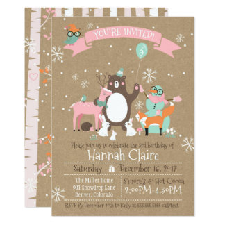 Woodland Animals Winter Girls Birthday Invitation