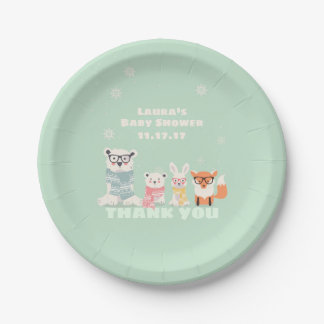 Woodland Baby Animals Boho Forest Baby Shower Paper Plate