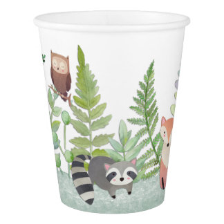 Woodland Baby Animals Greenery Baby Shower Paper Cup