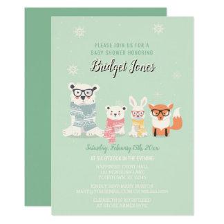 Woodland Baby Animals Winter Forest Baby Shower Card