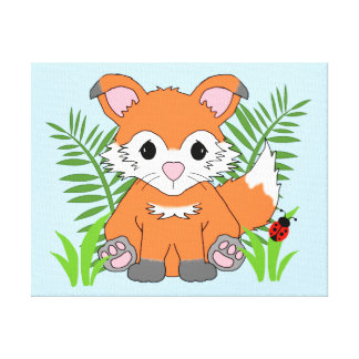 Woodland Baby Fox Forest Animal Nursery Wall Art