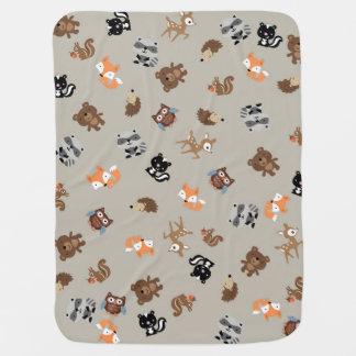 Woodland Baby Mash Up Blanket* Light Brown Receiving Blanket