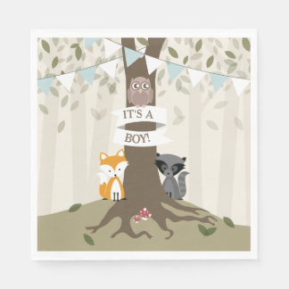 Woodland Baby Shower - Boy Disposable Napkin