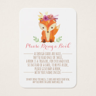 Woodland Baby Shower Girl Bring a Book Card