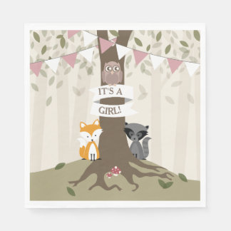Woodland Baby Shower - Girl Disposable Napkin