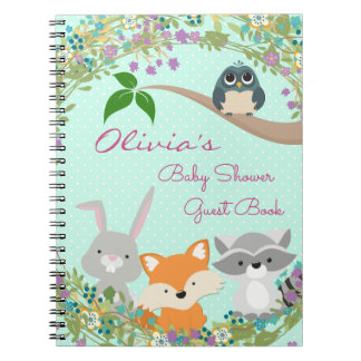 Woodland Baby Shower Guest and Gift Book Spiral Notebook