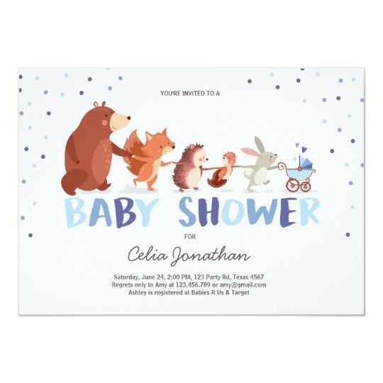 Woodland Baby Shower invitation Boy Forest Animals