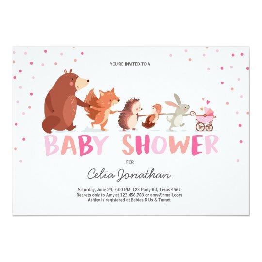 Woodland Baby Shower invitation Girl pink Animals