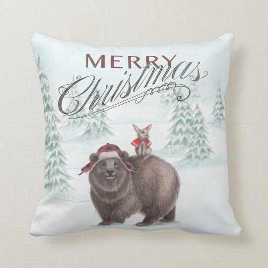 Woodland Bear and Bunny Merry Christmas Pillow