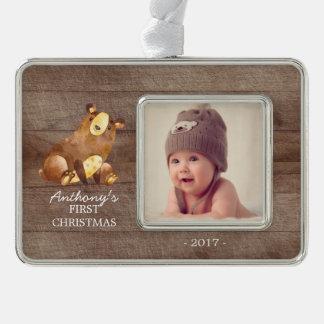 Woodland Bear Baby's 1st Christmas Photo Ornament