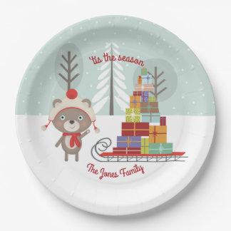 Woodland Bear Christmas Paper Plate