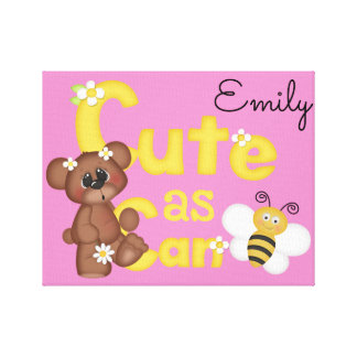 Woodland Bear Cute as Can Bee Baby Girl Wall Art Stretched Canvas Print
