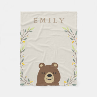 Woodland Bear Fleece Blanket
