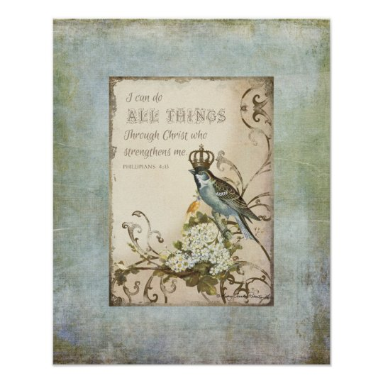 Woodland Birds - Blue Bird with Crown Floral Poster