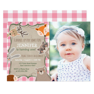 Woodland Birthday Invitation Lumberjack Girl Pink