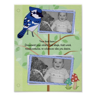 Woodland Blue Jay Baby Book Page Poster