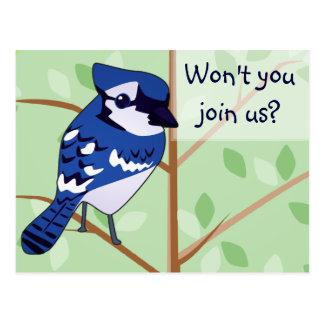 Woodland Blue Jay Invitation POSTCARD