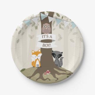 Woodland Boy Baby Shower 7 Inch Paper Plate