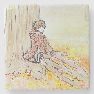 Woodland boy stone coaster